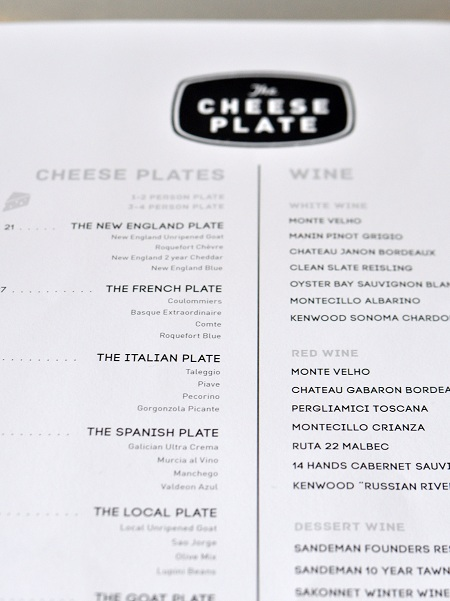 The Cheese Plate Menu