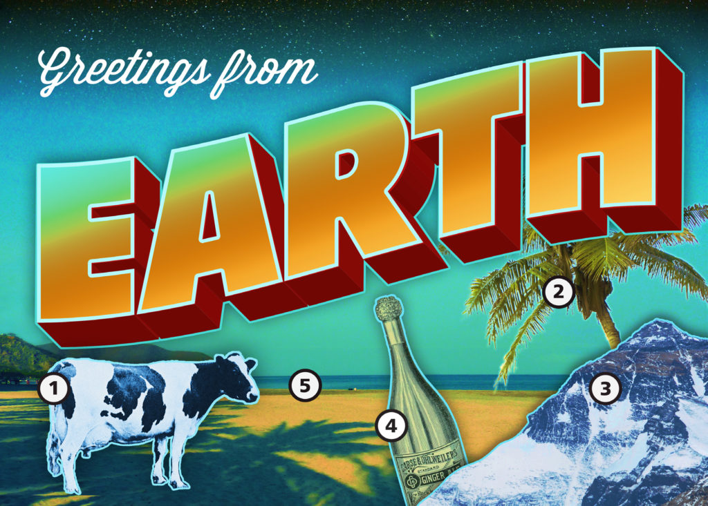 Earth in Five Reactions Engagement Postcard