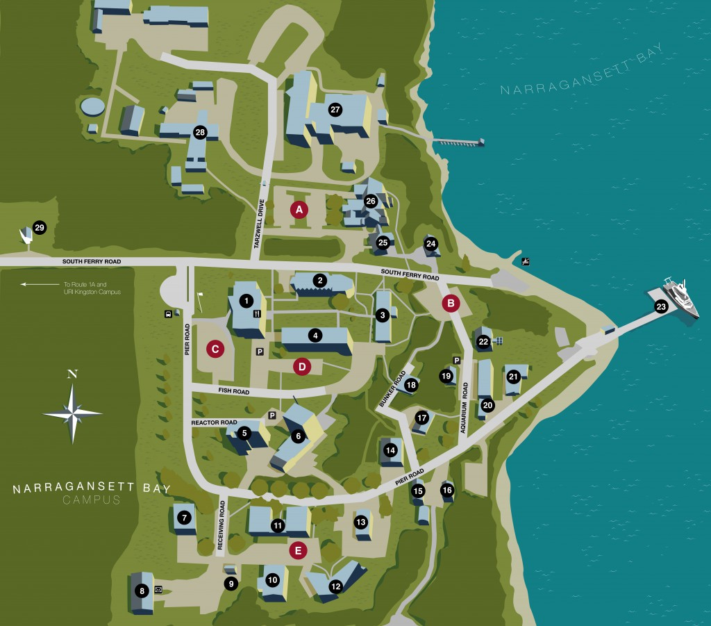 Uri Campus Map URI Narragansett Bay Campus Map – Josh Wood – design, illustration  Uri Campus Map